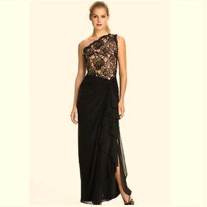 Tadashi Shoji Runway One Shoulder Black Lace Gown